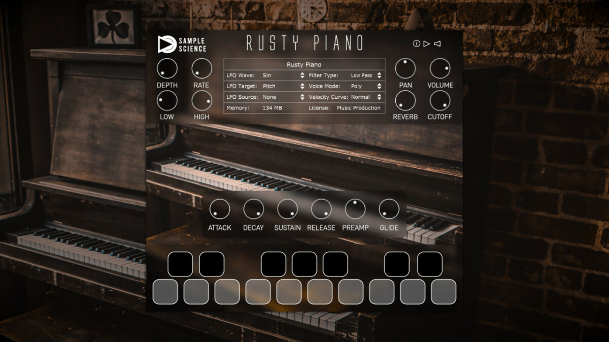 Free VST plugin: Rusty Piano by Sample Science